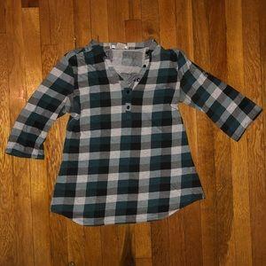 Green, Gray & Black Plaid Shirt